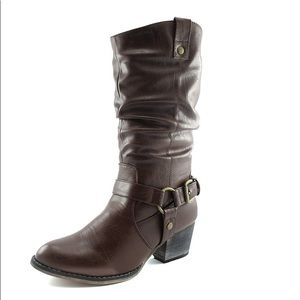 Shoes - Dark brown slouchy calf height boots size 12
